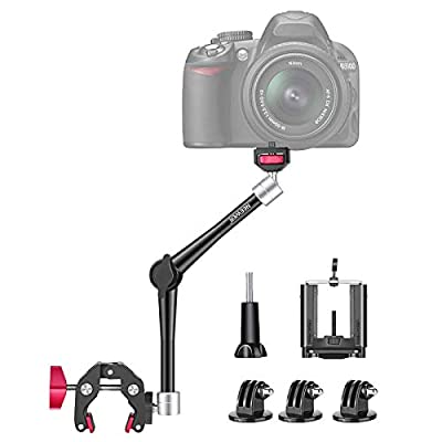 Neewer 11-Inch Adjustable Articulating Friction Magic Arm, DSLR/Mirrorless/Action Camera/Smartphone/LCD Monitor Video Vlog Rig with Phone Clamp Mount Adapter Kit Compatible with GoPro iPhone Arlo etc by Neewer
