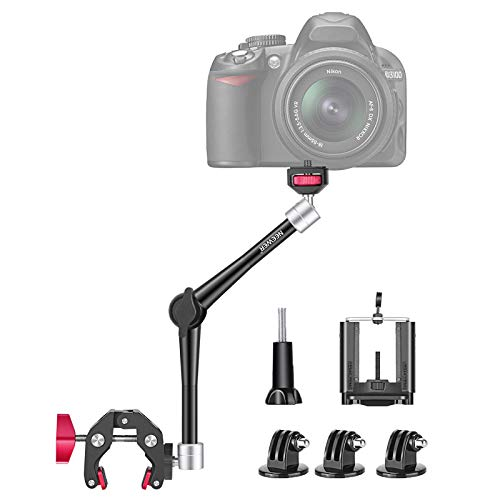 Neewer 11-Inch Adjustable Articulating Friction Magic Arm, DSLR/Mirrorless/Action Camera/Smartphone/LCD Monitor Video Vlog Rig with Phone Clamp Mount Adapter Kit Compatible with GoPro iPhone Arlo etc