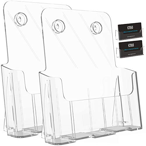 Ktrio 2 Pack Brochure Holder 8.5 x 11 Inches Acrylic Brochure Holders with Removable Divider for 4 x 9 Inches Brochures, Plastic Flyer Holder Clear Literature Holder Desk or Wall Mount