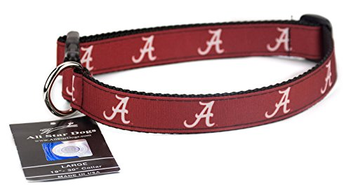 Alabama Crimson Tide Ribbon Dog Collar - Large