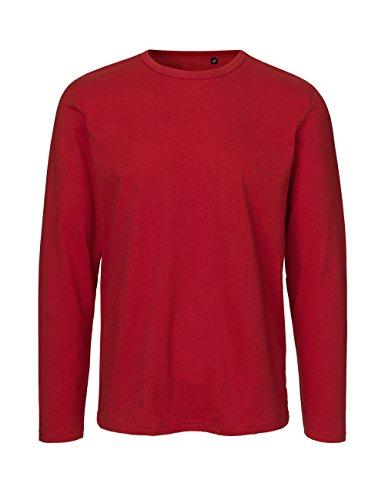 Green Cat Camiseta de manga larga para hombre, 100% algodón orgánico. Certificado de comercio justo, Oeko-Tex y Ecolabel. rojo L