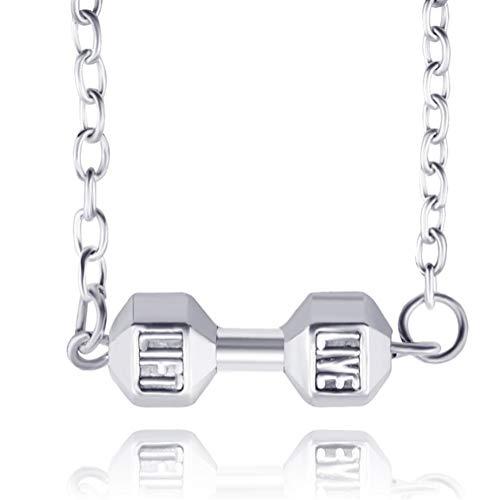 XRZY Hantel Anhänger Halskette, Mode Fitness Gewichtheben Legierung Fitness Hantel Unisex Anhänger Halskette