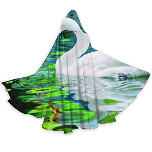 Capa de Halloween de Cisne Blanco de Lago Verde, Capa con Capucha Elegante con cordn, Bata de Bruja Fresca para Adultos, Capa de Fiesta Extra Larga