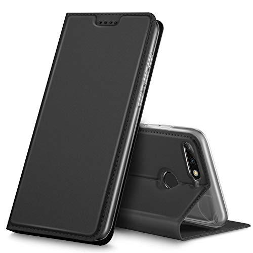 Verco Handyhülle für Y7 2018, Premium Handy Flip Cover für Huawei Y7 2018 Hülle [integr. Magnet] Book Hülle PU Leder Tasche [Honor 7C/Y7 Prime 2018/Y7 Pro 2018], Schwarz