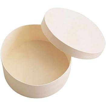 EXCEART Caja de Madera Redonda sin Terminar con Tapa Caja de Joyería Caja de Regalo Cofre de Tesoro Cofre para Manualidades Diy 18.8Cm: Amazon.es: Hogar