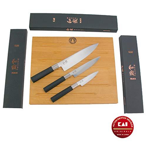 Kai Wasabi - Juego de cuchillos de cocina (20 cm, 15 cm, 10 cm, tabla de 40 x 30 cm, madera de roble)