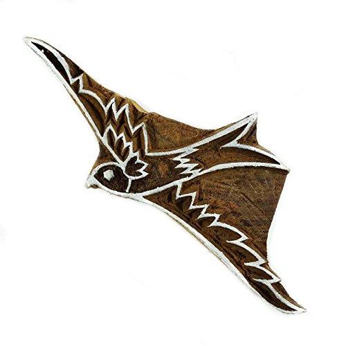 Knitwit Holzdruckstock Adler Handgeschnitzten Holzkunst Textildrucker Stempel
