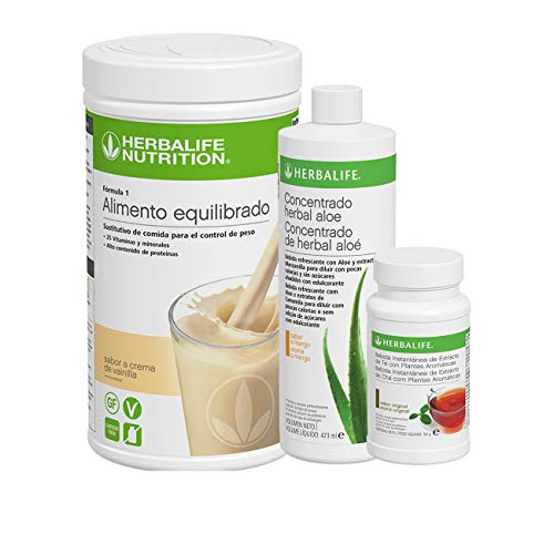 Pack AHORRO 3 productos Control de Peso Herbalife. Desayuno nutritivo con complementos alimenticios ricos en proteínas (Crema de Vainilla 550 gr)