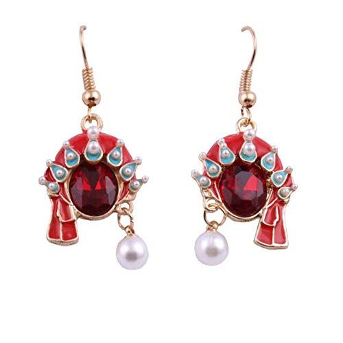 earring Opera Facebook Earrings Human Face Peking Drama Pearl Earring Women Vintage Red Rhinestone Drop Earrings Art Jewelry