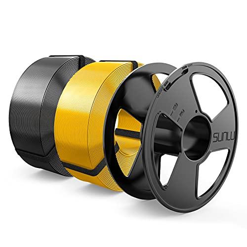 Silk Filamento PLA+ 1.75mm MasterSpool, SUNLU Shiny PLA Plus Filamento Stampante 3D, Riutilizzabile Spool, Filament Refill è Facile da Sostituire, PLA 2KG, 1kg Spool, 2 confezioni, Oro+Nero