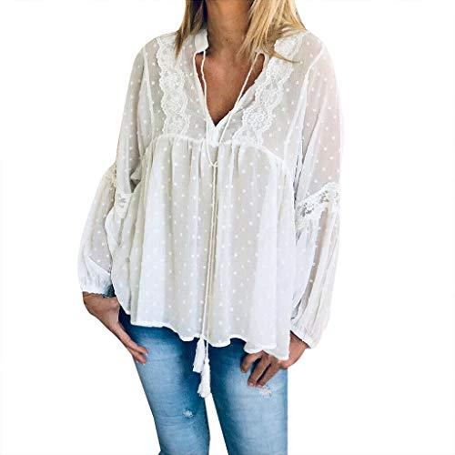 Huaya Mode Damen Lange Ärmel Tops V-Ausschnitt Solide Spitze Laternenärmel Bluse