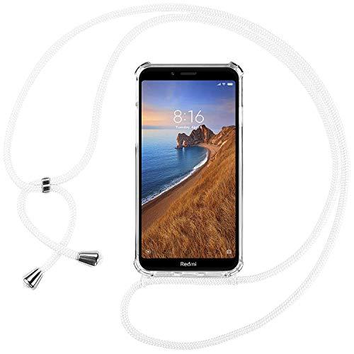Ingen Funda con Cuerda para Xiaomi Redmi 7A - Carcasa Transparente TPU Suave Silicona Case con Colgante - Blanco