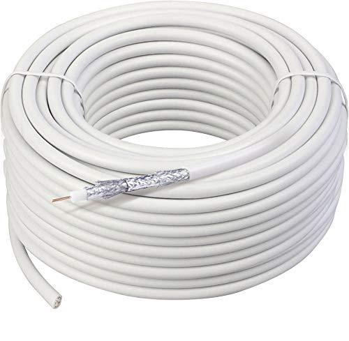 SCHWAIGER -KOX11550 052- Koaxialkabel unkonfektioniert | SAT-Kabel | 115 dB | zur Satelliten- und Kabelfernsehinstallation | Satellitenkabel | 50 m | weiß