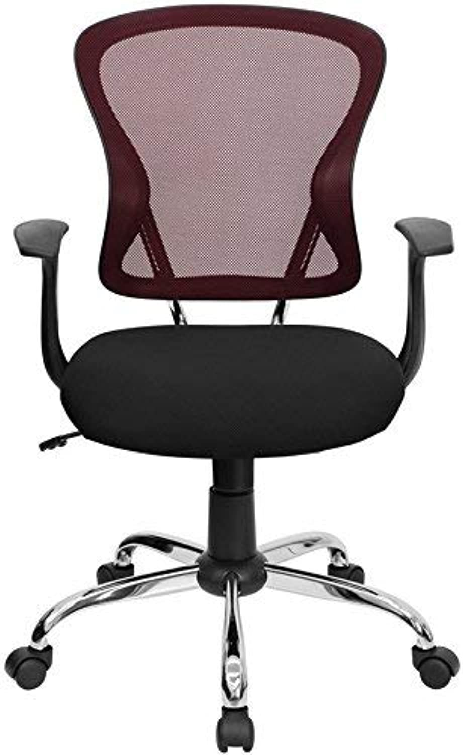 Burgundy and Black Mesh Office Chair with Chrome Finished Base [H-8369F-BG-GG]