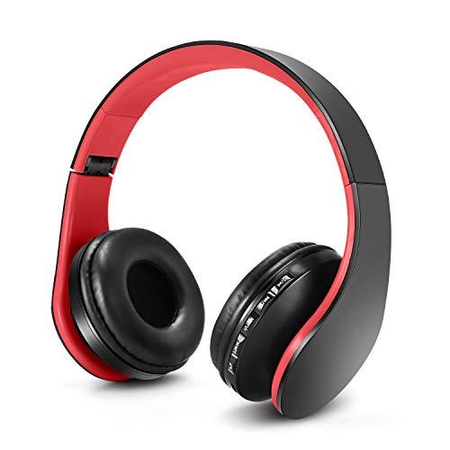 ZAPIG Premium Kinderkopfhörer, Bluetooth Kopfhörer für Kinder mit Gehörschutz, Leichte Kinder Kopfhörer mit Faltbare Kopfband, Rot-Schwarz