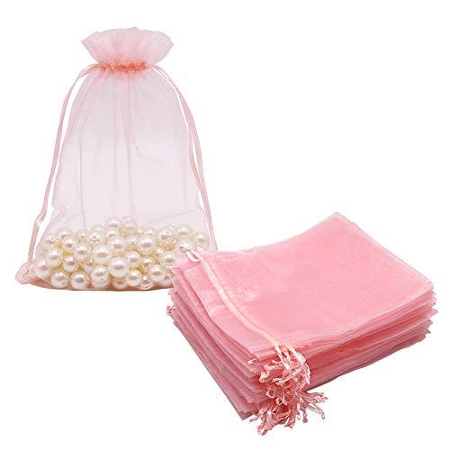 100 große Organza-Säckchen in Blush Pink, 17 x 23 cm, Netz-Geschenkbeutel, Kordelzug,...