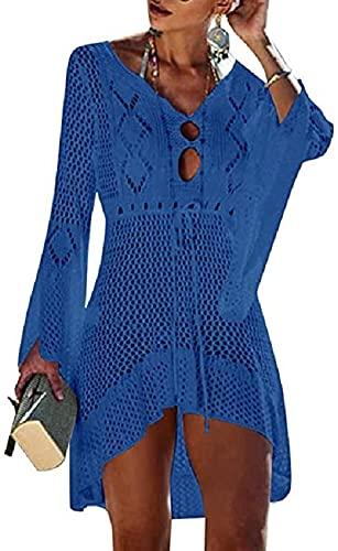 UMIPUBO Vestido de Playa Mujer Suelto Pareos Playa V-Cuello Camisolas y Pareos Ganchillo Vendaje Bikini Traje de Baño Cover up Tunica Talla Grande