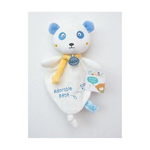 Babynat–Doudou Babynat oso/Panda plana color blanco azul adorable Bebe Kawai–9017