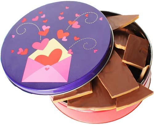 Vermont Nut Free Valentine s Day Milk Chocolate Toffee Crunch Bark Tin product image