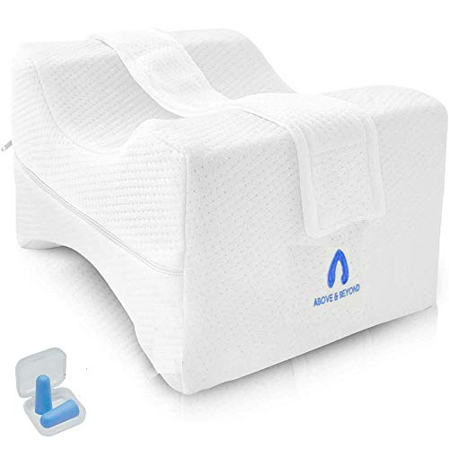 Knee Pillow for Side Sleepers - Orthopedic Memory Foam Wedge Contour - Leg Pillow for Sleeping with Adjustable and Removable Strap - Ear Plugs Included - Breathable Cover - Spacer Cushion for Spine Alignment, Back Pain, Pregnancy Support
