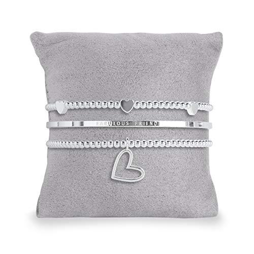 Katie Loxton - Occasion Gift Box - Fabulous Friend - 3 Silver Stacking Bracelets