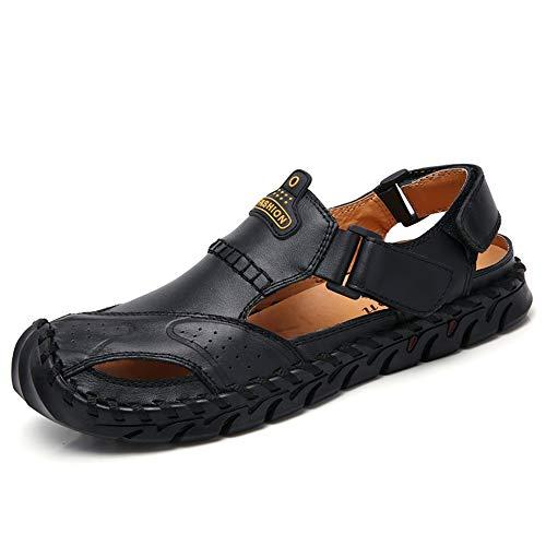 Sandalias de cuero Sandalias al aire libre para hombre Zapatos de playa de verano transpirables para caminar de pie abierto Zapatillas de pescadores antideslizantes Cómodo de cuero superior Sandalias