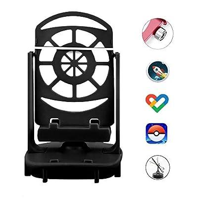 NEWZEROL Accesorios para Columpios de Teléfono Podómetro Poke Ball Plus/Pokemon Go para Teléfono Celular, [Cable USB][Soporte para 2 Teléfonos] Pasos Rápidos Dispositivo para Ganar Pasos - Negro por NEWZEROL