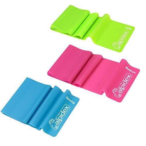 BB Sport Fitnessbänder Gymnastikbänder Überlänge 2,50 m extra lang 3er Set mit 3 verschiedenen Stärken