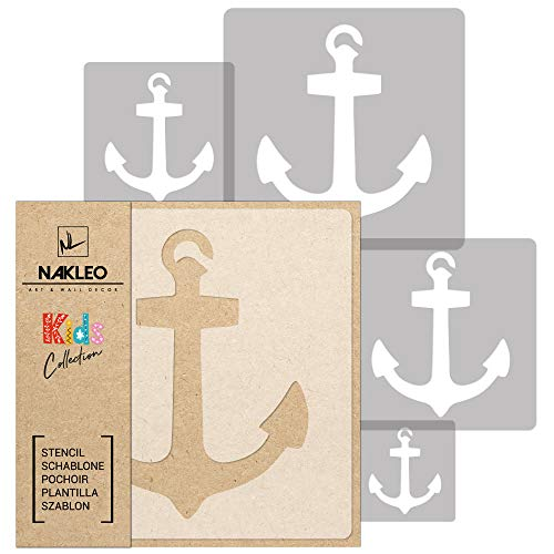 5 Stück wiederverwendbare Kunststoff-Schablonen // ANKER // 34x34cm bis 9x9cm // Kinderzimmer-Dekorarion // Kinderzimmer-Vorlage