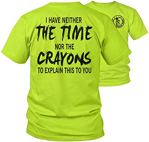 Armed American Supply Crayons - Hi Vis Safety Yellow/Green Funny Construction Work T-Shirt Hi-Vis, Hi Viz Shirt (XL)
