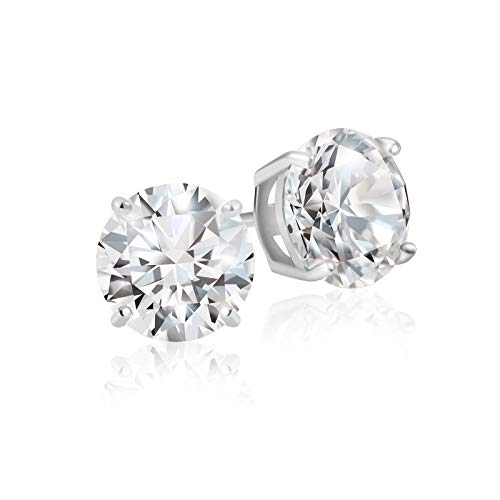 Lusoro 925 Sterling Silver Round Cut AAA Cubic Zirconia Stud Earrings - 1 Carat Total Weight CZ