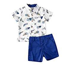 usmley Set di Magliette abbottonate a Maniche Corte con Bottoni a Manica Corta e Completi Estivi da Bambino per Bambini