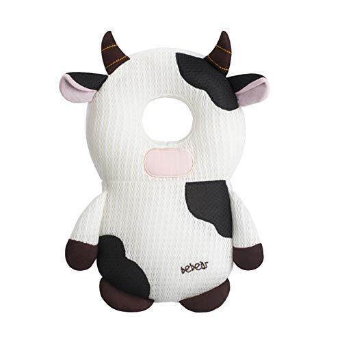 Bebamour Protección para la cabeza del bebé Suave y transpirable Soporte para la cabeza del bebé Almohada para bebés Reposacabezas anti-caídas (Spot Cow)