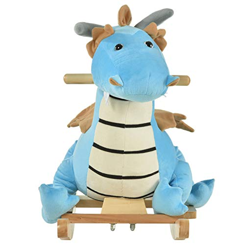New Adorable Soft Plush Indoor Childrens Dinosaur Rocker Horse Chair with Plush Body for 18-36 Months