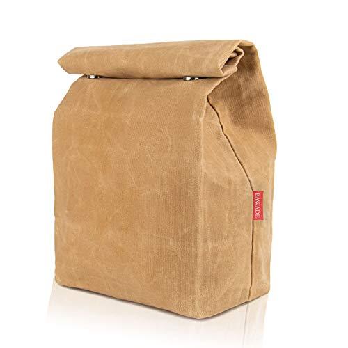 BAWADE Gewachstem Canvas Lunchtasche, wasserdichte Isolierte Lunchbag mit 2 Magnetschnallen, Umweltfreundlich Wiederverwendbar Büro Mittagessen Tasche für Kinder Frauen Männer Picknick im Freien