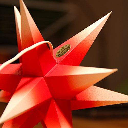 1 Papierstern beleuchtet rot weiße Spitzen 3d Weihnachtsstern fürs Fenster STERNSCHMIEDE weißes Netzteil 3fach-Verteiler Fensterclips Stern 19 cm Papier handgefertigt Innenbereich