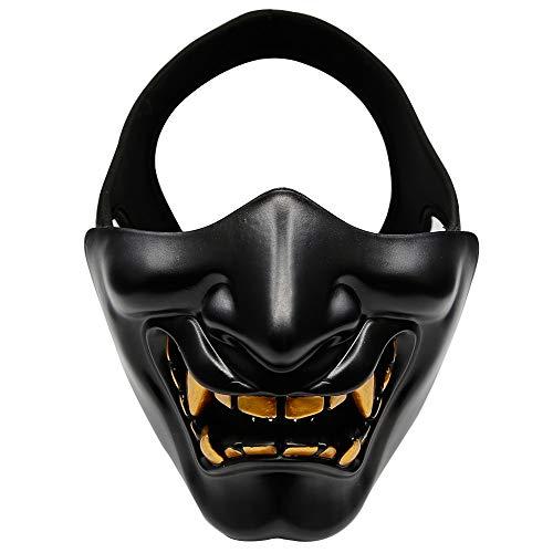 Máscara de media cara de diablo, mascarada de máscara de diablo, máscara protectora unisex para juego de truco de fiesta de disfraces de Halloween negro