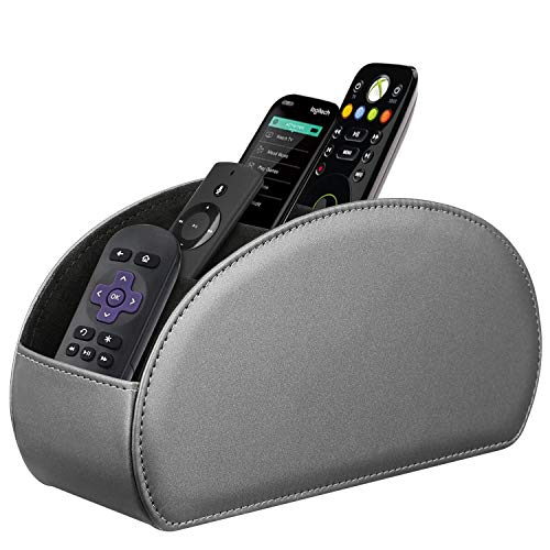 Fintie Remote Control Holder, Vegan Leather TV Remote Caddy Desktop Organizer 5 Compartments Fits TV Remotes, Media Controllers, Office Supplies, Makeup Brush, Silver Gray