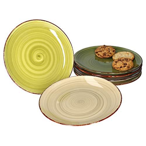 MamboCat 6er Set Nature Frühstücksteller Dessertteller im Landhausstil I Kuchenteller Ø 18,5 cm I Rustikale Optik in grau braun grün