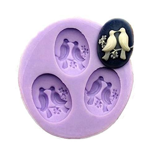 Petit moule en silicone Allforhome à 3 cavités pour décorations de gâteaux en pâte à sucre - Motif : oiseaux de 2,4 cm