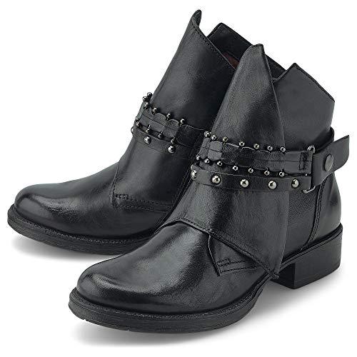 Flare & Brugg Damen Trend-Boots Schwarz Glattleder 38