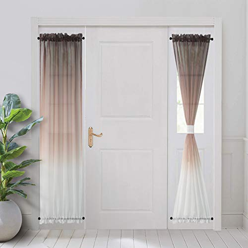 BGment Ombre French Door Curtains, Rod Pocket Faux Linen Sheer Sidelight Drapes with 2 Tie Backs for Door Window, Set of 2 Panels (Each 25 x 72 Inch, Light Brown)