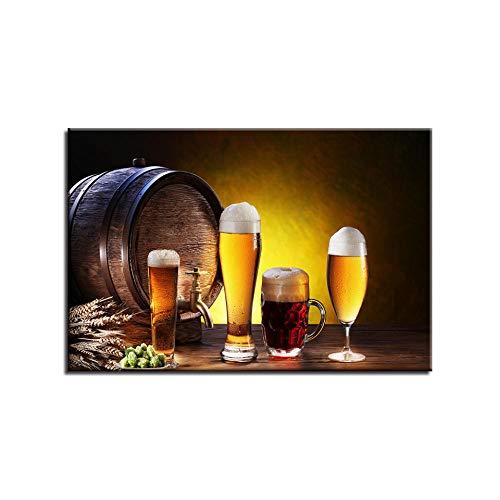 Ilustración De Cerveza De Barril De Madera Impresiones De Arte Decoraciones De Arte De Pared Obra De Arte Contemporánea Arte De Pared Enmarcado para La Decoración De La Sala De Estar.