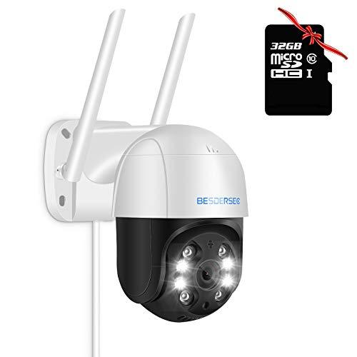 Cameras de Seguridad WiFi, Camara IP Exterior WiFi 1080P HD, Camera IP WiFi Impermeable IP66 con Audio de Dos Vías,Visión Nocturna 50M en Color Detección de Movimiento Monitorización,con Tarjeta 32G