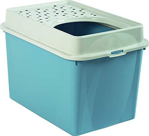 Rotho Berty Cassetta per la spazzatura alta con ingresso dall'alto, Plastica PP senza BPA, Blu(Piccione), 57.2 x 39.3 x 40.4 cm