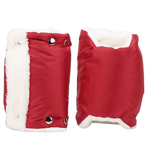 Manguito cálido, espesar 2 piezas de guantes de cochecito a prueba de viento, nailon para cochecitos de un solo mango(red)