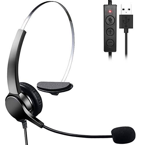 MEEQIAO Auricolare USB con Microfono, per PC Cancellazione di Rumore Call Center Cuffie Telefoniche per Laptop Computer Telefono Fisso Cuffie Cellulare Mono para Skype Teams Zoom Dragon Lync Ufficio
