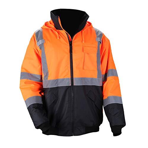 Men's ANSI Class 3 Hi Vis Safety Bomber Jacket Concealed Hood Waterproof Full Zip Quilted Padding Work Jacket Black Bottom(4XL, Orange)