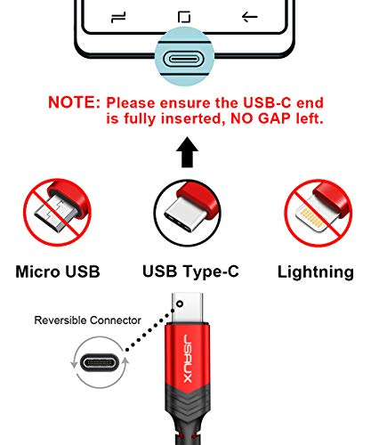 JSAUX USB C Kabel [3 Pack 0.3M 1M 2M ] Nylon Type C Ladekabel für Samsung Galaxy S10 S9 S8 Plus,Note 10 9 8,A3 A5 2017,HTC 10 U11,Sony Xperia XZ Xa1, Huawei P30 P20 Mate 20 Lite P10 P9 Plus usw (Rot)