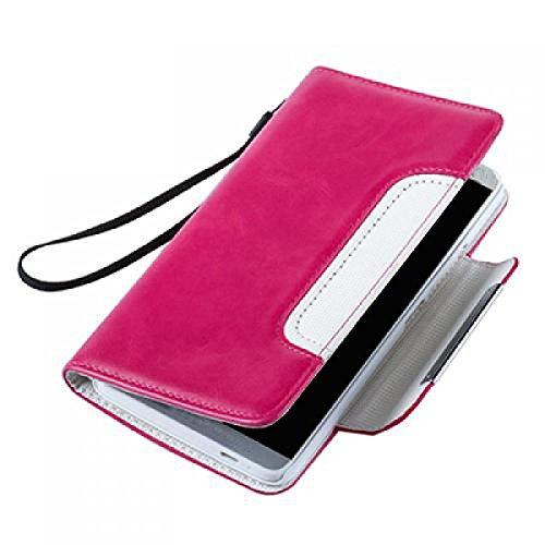 Huawei Ascend Y300 Hülle, numia Handyhülle Handy Schutzhülle [Book-Style Handytasche mit Standfunktion und Kartenfach] Pu Leder Tasche für Huawei Ascend Y300 Case Cover [Pink-Weiss] - 5